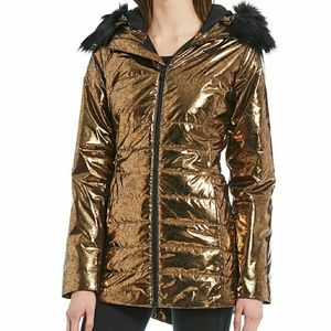 North Face gold parka with fur